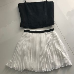 White skirt and bustier top